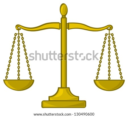 A cartoon depiction of the scales of justice used to symnbolize fairness and truth. - stock vector
