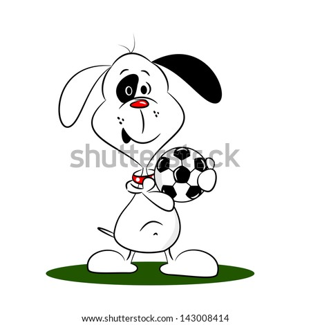 A cartoon dog holding a football on a white background - stock vector