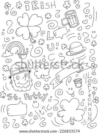 A cartoon doodle with an Irish theme. - stock vector