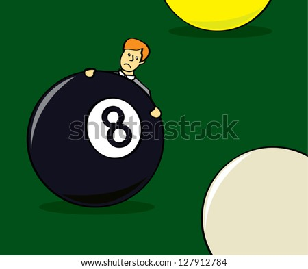 "A cartoon drawing of a businessman standing behind an eight ball depicting the phrase ""behind the eight ball"". - stock vector"