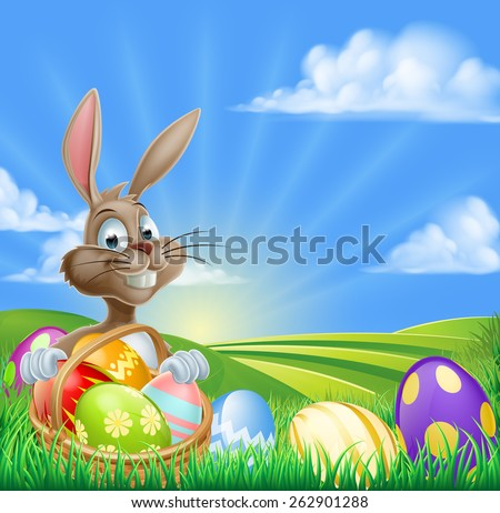 A cartoon Easter Bunny with a basket hamper of Easter eggs in a field with rolling hills