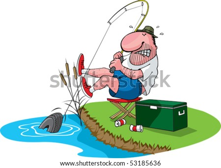 A cartoon fisherman catches a tire. Layered vector file. Fisherman, cooler, grass, water, cans,and cattails are all on separate layers.