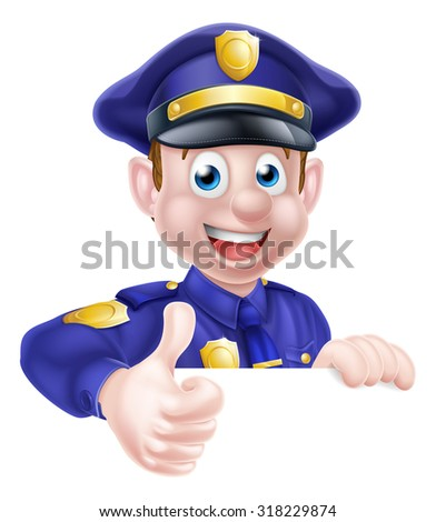 A cartoon friendly policeman peeking over a sign and giving a thumbs up - stock vector