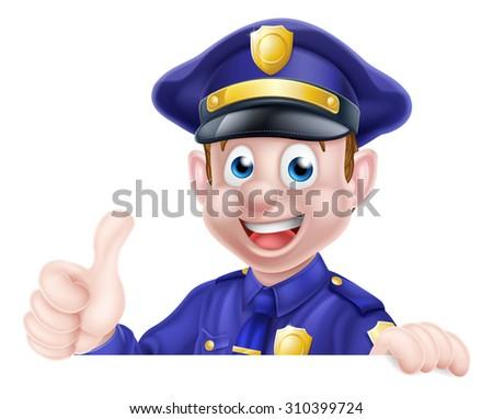 A cartoon friendly policeman peeking over a sign giving a thumbs up  - stock vector