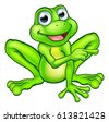 a cartoon frog mascot character ...