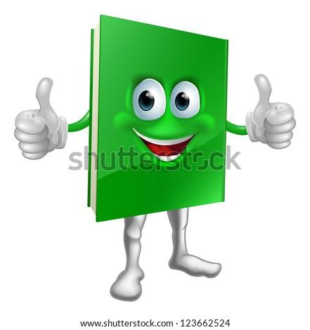 A cartoon green thumbs up book mascot man education concept - stock vector