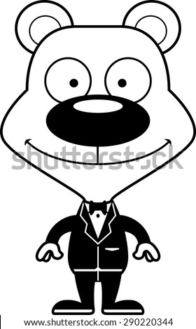 A cartoon groom bear smiling. - stock vector