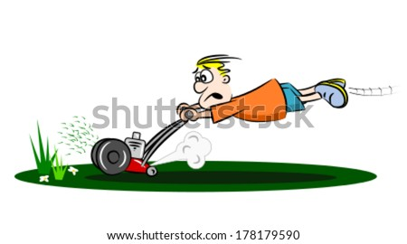 A cartoon guy cutting the grass with a run away lawn mower  - stock vector