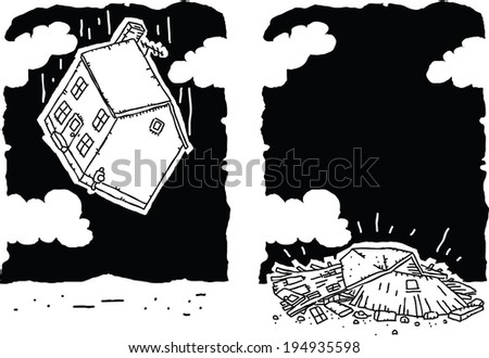 A cartoon house falls and crashes to the ground. - stock vector