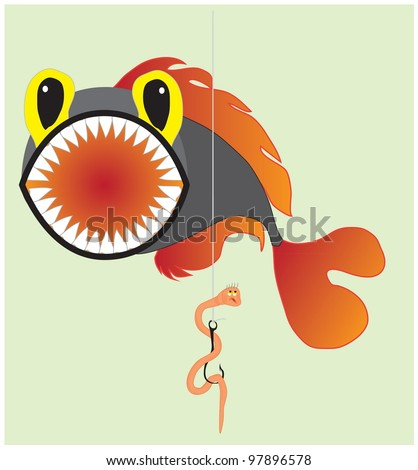 A cartoon illustration about fishing, fish and an unlucky worm. Vector hand drawing EPS 10. - stock vector
