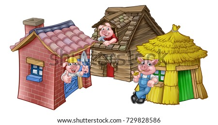 Cartoon Illustration Three Little Pigs Childrens Stock ... House Made Of Sticks Cartoon