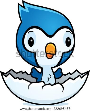 Cartoon baby bird hatching