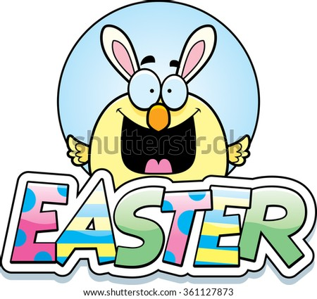 A cartoon illustration of a baby chick dressed as the Easter Bunny in an Easter themed graphic.