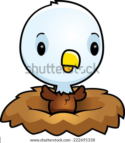 A cartoon illustration of a baby eagle in a nest. - stock vector