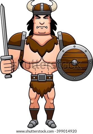 A cartoon illustration of a barbarian man ready for battle. - stock vector