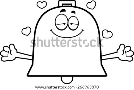 A cartoon illustration of a bell ready to give a hug. - stock vector