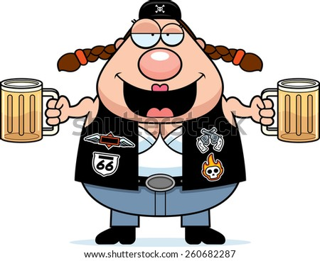 A cartoon illustration of a biker woman looking drunk on beer.