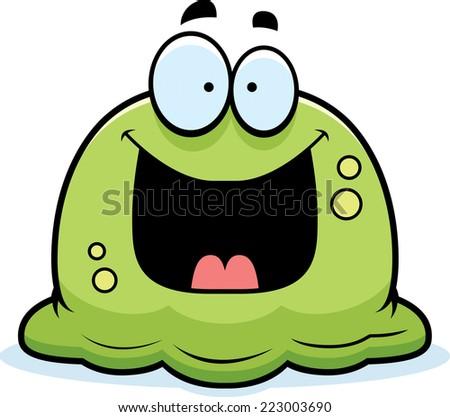 Cartoon illustration of a booger looking happy stock vector