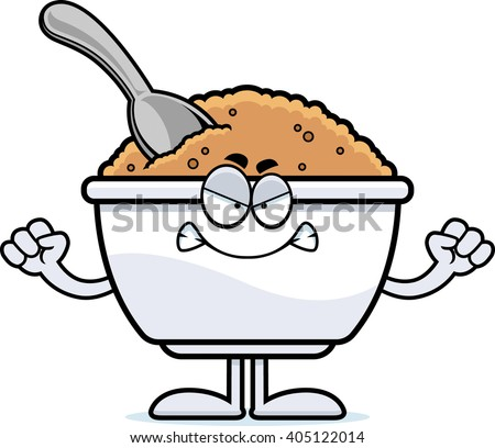 A cartoon illustration of a bowl of oatmeal looking angry. - stock vector
