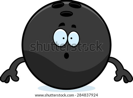 A cartoon illustration of a bowling ball looking surprised.