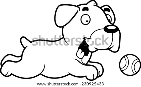 A cartoon illustration of a Boxer dog chasing a ball.
