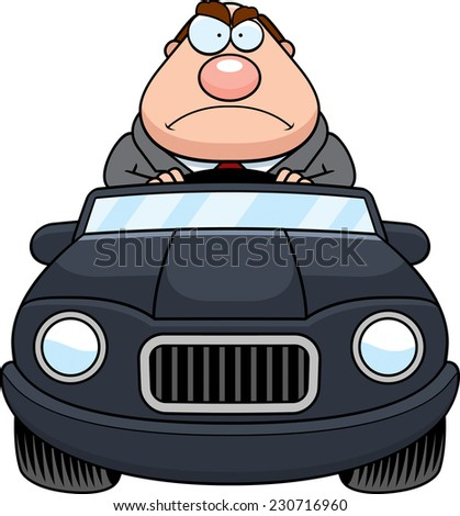 A cartoon illustration of a businessman driving a car with an angry expression. - stock vector