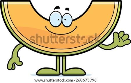 A cartoon illustration of a cantaloupe waving. - stock vector