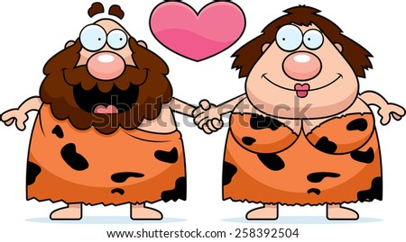 A cartoon illustration of a caveman couple holding hands and in love. - stock vector