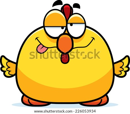 A cartoon illustration of a chicken looking drunk. - stock vector