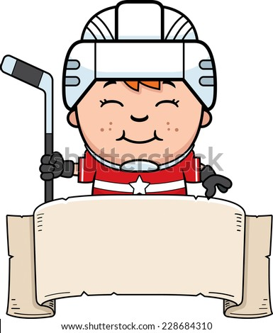 A cartoon illustration of a child hockey player with a banner. - stock vector