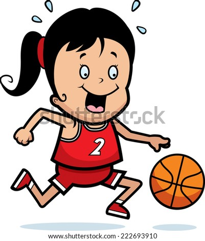 A cartoon illustration of a child playing basketball. - stock vector