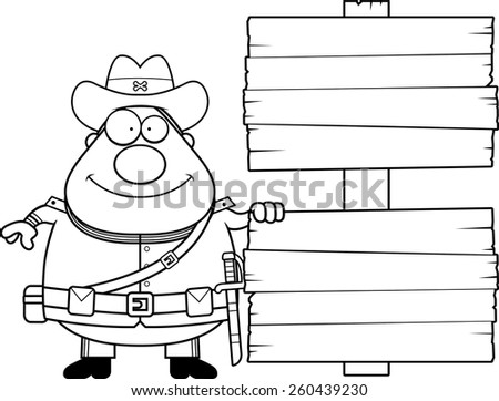 A cartoon illustration of a Civil War Confederate soldier with a sign.