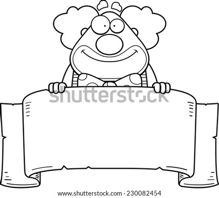 A cartoon illustration of a clown with a banner. - stock vector