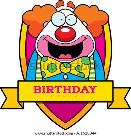 A cartoon illustration of a clown with a birthday themed graphic. - stock vector