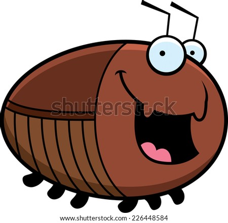 A cartoon illustration of a cockroach smiling. - stock vector
