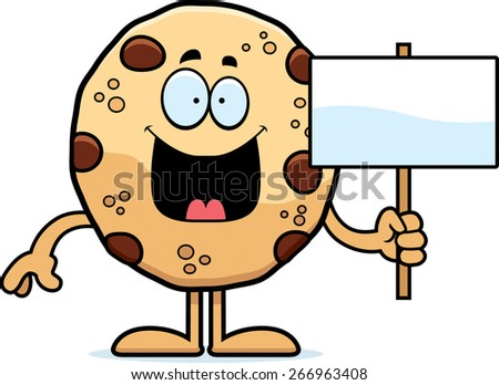 A cartoon illustration of a cookie holding a sign. - stock vector