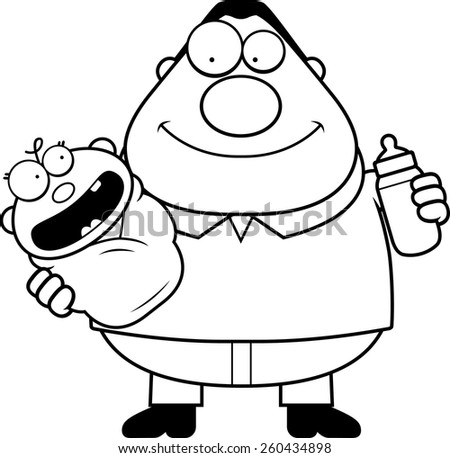 A cartoon illustration of a dad holding a baby and a bottle. - stock vector
