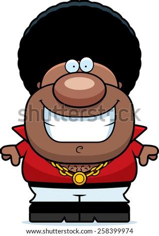 A cartoon illustration of a disco man smiling. - stock vector