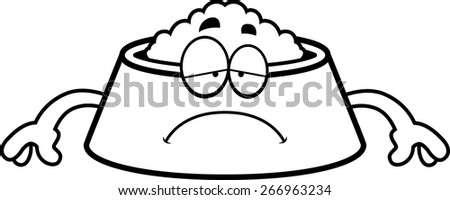 A cartoon illustration of a dog bowl looking sad. - stock vector