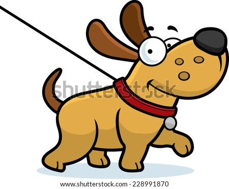 A cartoon illustration of a dog on a leash going for a walk. - stock vector