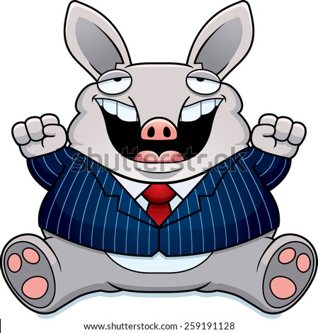 A cartoon illustration of a fat aardvark in a suit smiling and sitting. - stock vector