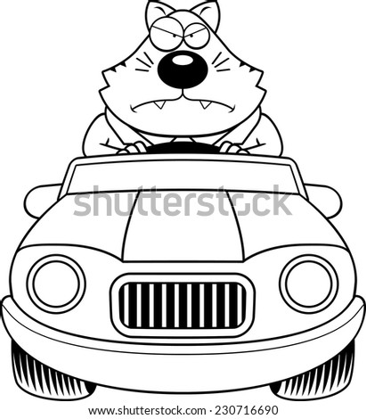 A cartoon illustration of a fat cat driving a car with an angry expression. - stock vector