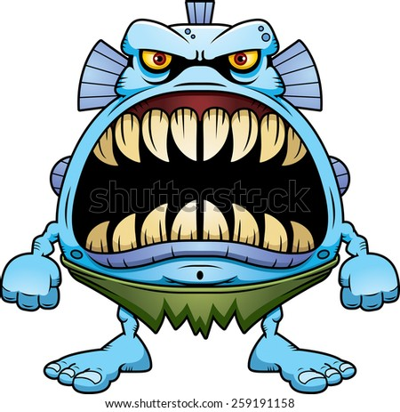 A cartoon illustration of a fish creature with a big mouth full of sharp teeth. - stock vector