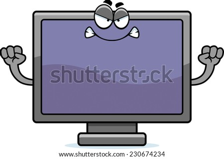 A cartoon illustration of a flat screen television looking angry. - stock vector