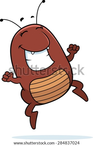 A cartoon illustration of a flea jumping in success. - stock vector