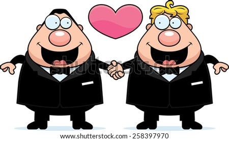 A cartoon illustration of a gay couple holding hands and in love. - stock vector