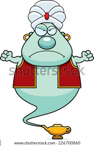 A cartoon illustration of a genie looking angry. - stock vector