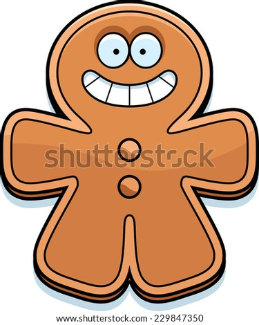 A cartoon illustration of a gingerbread man smiling. - stock vector