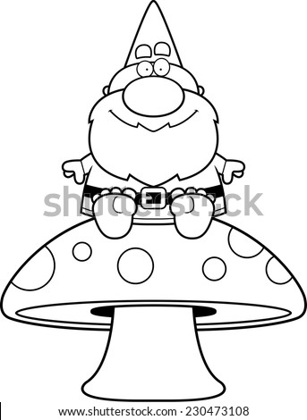 A cartoon illustration of a gnome sitting on a mushroom. - stock vector