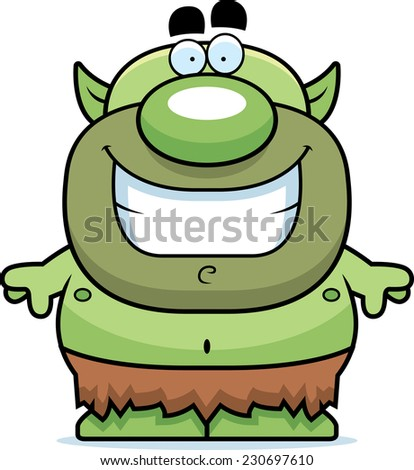 A cartoon illustration of a goblin smiling. - stock vector